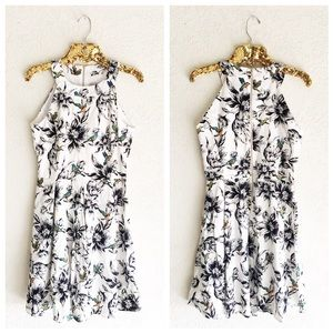 Floral Bird Print Halter Dress